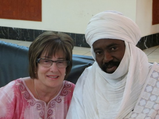 Robin and the Chef de Canton, spiritual leader of the commune of Libore.