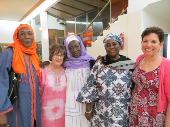 Ramatou, Robin, Fati, Aicha and Helen -- all the girls at dinner this evening!